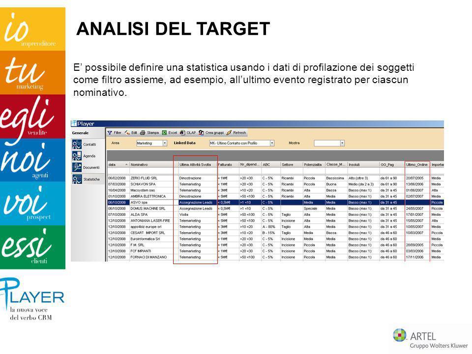 E possibile definire una statistica usando i dati di profilazione dei soggetti come filtro assieme, ad esempio, allultimo evento registrato per ciascu