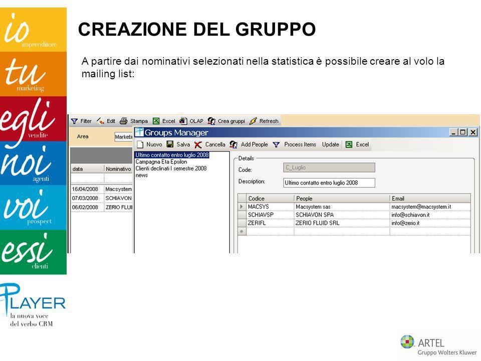 A partire dai nominativi selezionati nella statistica è possibile creare al volo la mailing list: CREAZIONE DEL GRUPPO