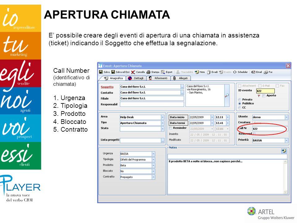Il responsabile può verificare tipologia, stato e quantità di chiamate tracciate per specifico operatore.