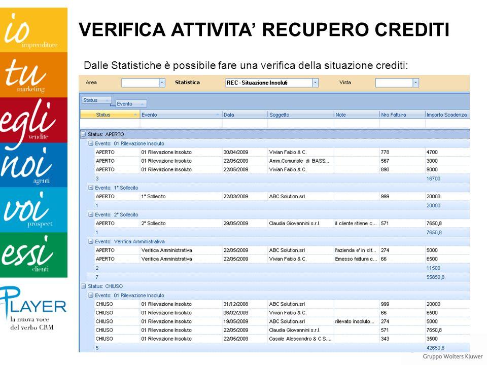 Dalle Statistiche è possibile fare una verifica della situazione crediti: VERIFICA ATTIVITA RECUPERO CREDITI