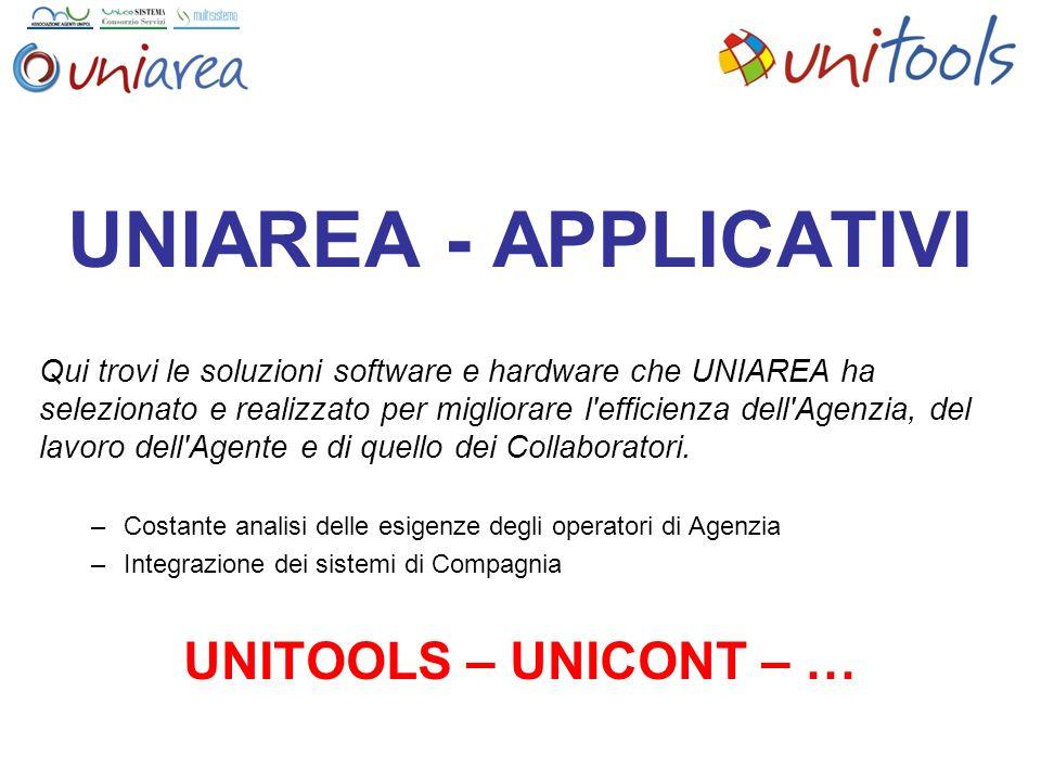 UNIAREA - APPLICATIVI Qui trovi le soluzioni software e hardware che UNIAREA ha selezionato e realizzato per migliorare l efficienza dell Agenzia, del lavoro dell Agente e di quello dei Collaboratori.