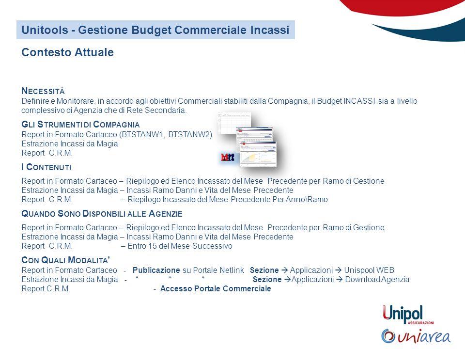 Unitools - Gestione Budget Commerciale Incassi N ECESSITÀ Definire e Monitorare, in accordo agli obiettivi Commerciali stabiliti dalla Compagnia, il Budget INCASSI sia a livello complessivo di Agenzia che di Rete Secondaria.