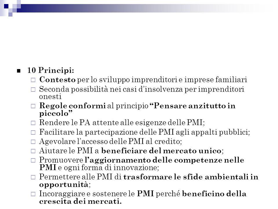 10 Principi: Contesto per lo sviluppo imprenditori e imprese familiari Seconda possibilità nei casi dinsolvenza per imprenditori onesti Regole conformi al principio Pensare anzitutto in piccolo Rendere le PA attente alle esigenze delle PMI; Facilitare la partecipazione delle PMI agli appalti pubblici; Agevolare laccesso delle PMI al credito; Aiutare le PMI a beneficiare del mercato unico ; Promuovere laggiornamento delle competenze nelle PMI e ogni forma di innovazione; Permettere alle PMI di trasformare le sfide ambientali in opportunità ; Incoraggiare e sostenere le PMI perché beneficino della crescita dei mercati.