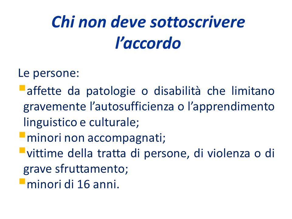 Chi non deve sottoscrivere laccordo Le persone: affette da patologie o disabilità che limitano gravemente lautosufficienza o lapprendimento linguistic