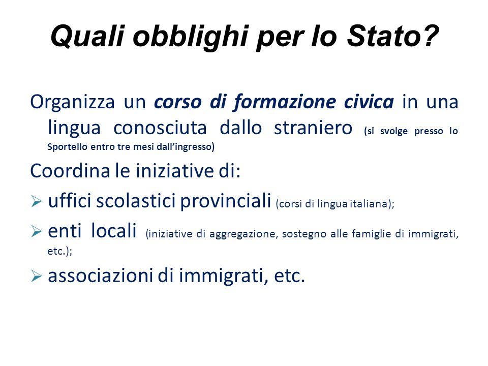 Quali obblighi per lo Stato? Organizza un corso di formazione civica in una lingua conosciuta dallo straniero (si svolge presso lo Sportello entro tre