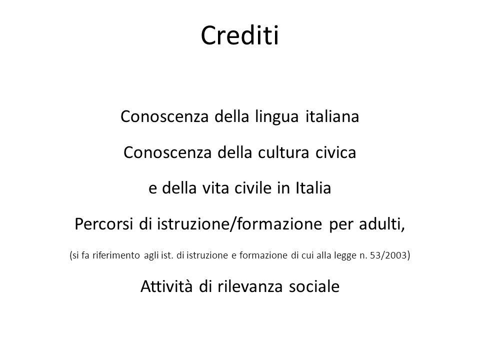 Crediti Conoscenza della lingua italiana Conoscenza della cultura civica e della vita civile in Italia Percorsi di istruzione/formazione per adulti, (si fa riferimento agli ist.