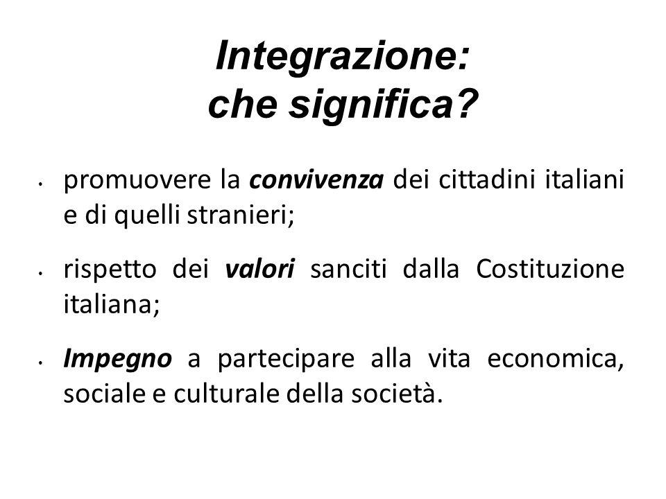 Integrazione: che significa? promuovere la convivenza dei cittadini italiani e di quelli stranieri; rispetto dei valori sanciti dalla Costituzione ita