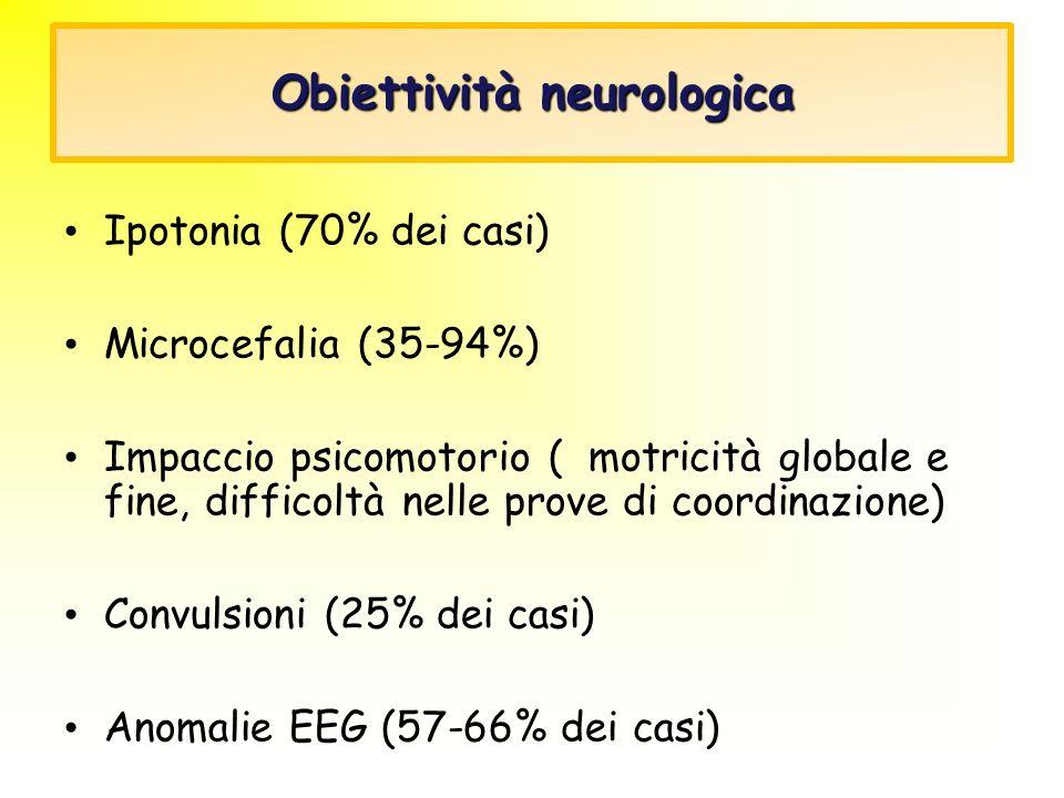 Obiettività neurologica Ipotonia (70% dei casi) Microcefalia (35-94%) Impaccio psicomotorio ( motricità globale e fine, difficoltà nelle prove di coor