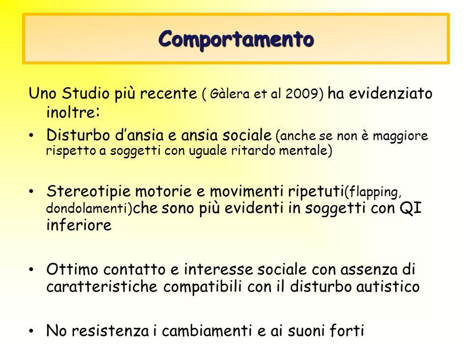 Comportamento Uno Studio più recente ( Gàlera et al 2009) ha evidenziato inoltre : Disturbo dansia e ansia sociale (anche se non è maggiore rispetto a
