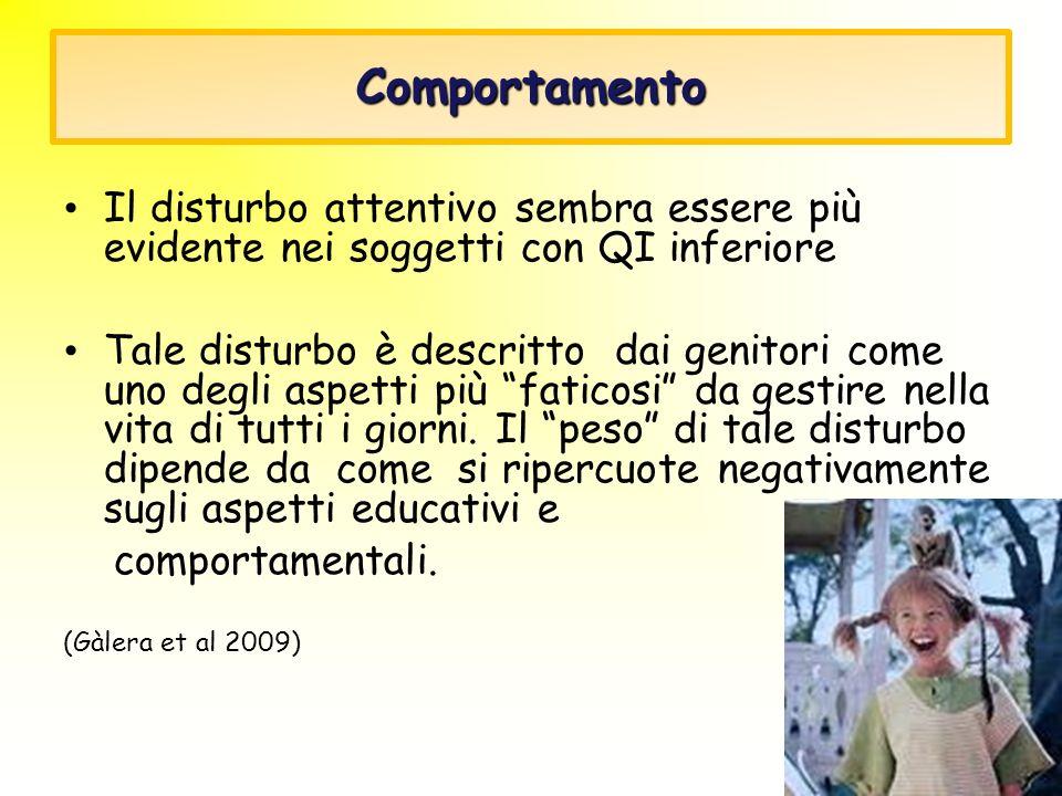 Comportamento Il disturbo attentivo sembra essere più evidente nei soggetti con QI inferiore Tale disturbo è descritto dai genitori come uno degli asp