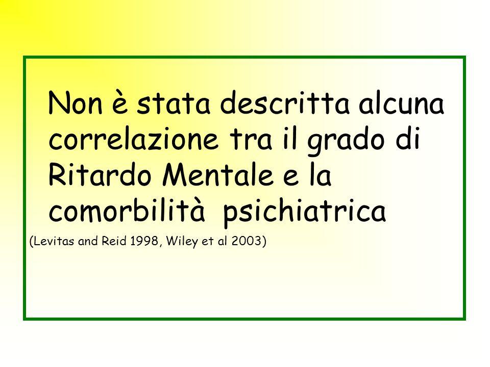 Non è stata descritta alcuna correlazione tra il grado di Ritardo Mentale e la comorbilità psichiatrica (Levitas and Reid 1998, Wiley et al 2003)