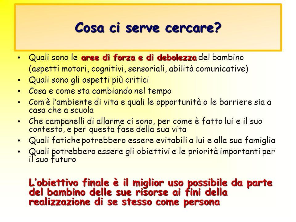 Cosa ci serve cercare? aree di forza e di debolezza Quali sono le aree di forza e di debolezza del bambino (aspetti motori, cognitivi, sensoriali, abi