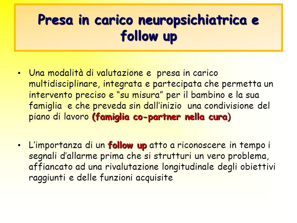 Presa in carico neuropsichiatrica e follow up (famiglia co-partner nella cura) Una modalità di valutazione e presa in carico multidisciplinare, integr