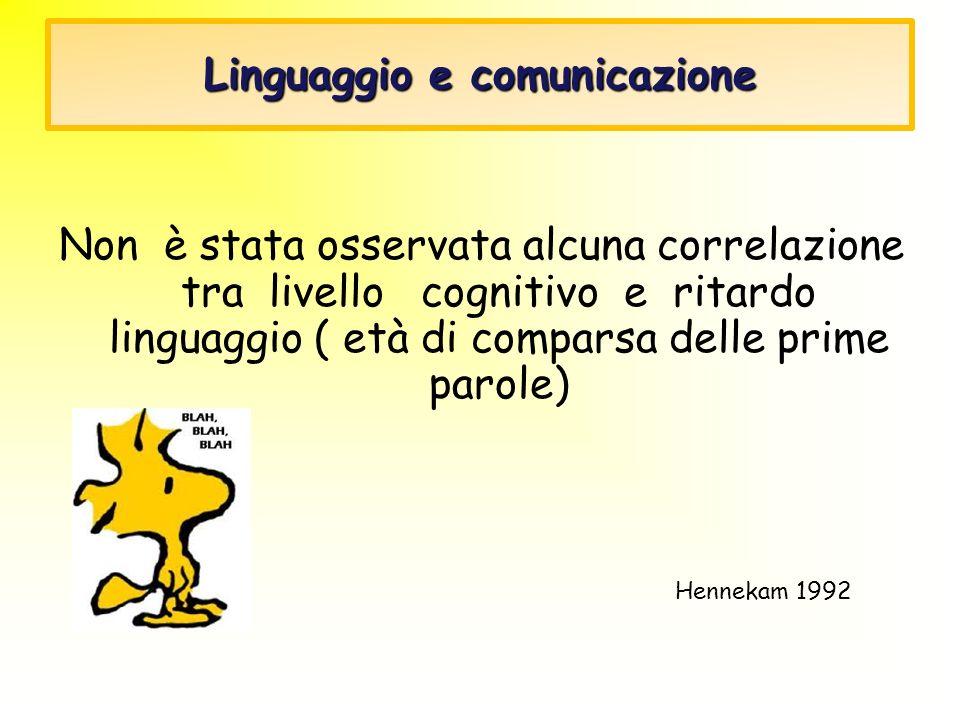 Linguaggio e comunicazione Non è stata osservata alcuna correlazione tra livello cognitivo e ritardo linguaggio ( età di comparsa delle prime parole)