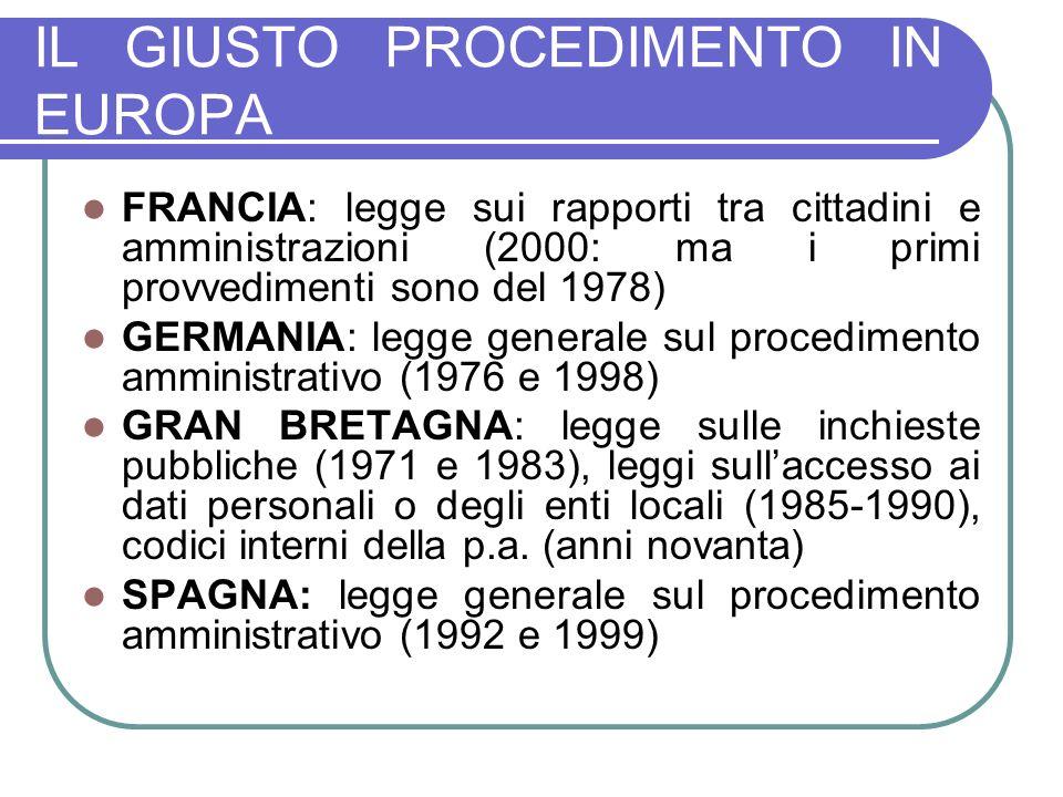 IL GIUSTO PROCEDIMENTO IN EUROPA FRANCIA: legge sui rapporti tra cittadini e amministrazioni (2000: ma i primi provvedimenti sono del 1978) GERMANIA: legge generale sul procedimento amministrativo (1976 e 1998) GRAN BRETAGNA: legge sulle inchieste pubbliche (1971 e 1983), leggi sullaccesso ai dati personali o degli enti locali (1985-1990), codici interni della p.a.