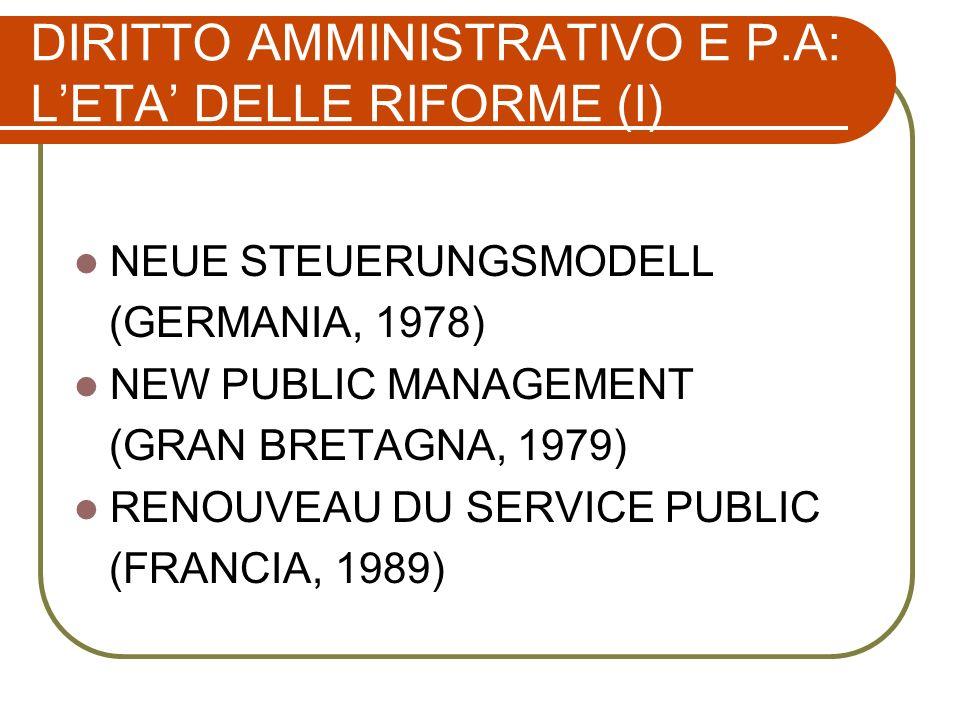 DIRITTO AMMINISTRATIVO E P.A: LETA DELLE RIFORME (II) MODERNIZACIÒN DE LA ADMINISTRACIÒN (SPAGNA, 1992) NATIONAL PERFORMANCE REVIEW (STATI UNITI, 1992) INDIRIZZI PER LA MODERNIZZAZIONE DELLE AMMINISTRAZIONI PUBBLICHE (ITALIA, 1993)