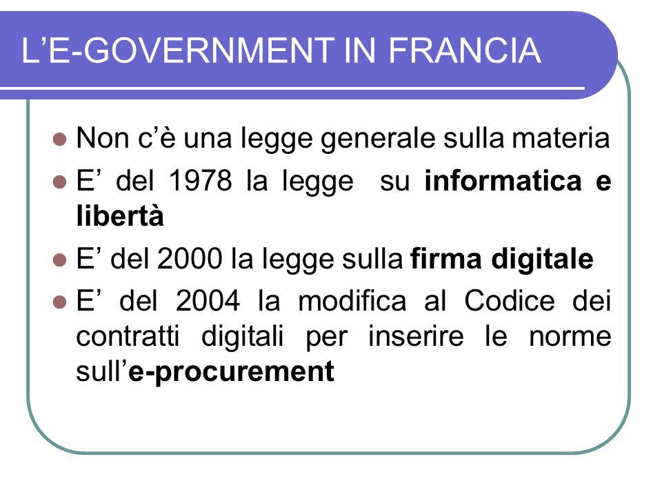 LE-GOVERNMENT IN FRANCIA Non cè una legge generale sulla materia E del 1978 la legge su informatica e libertà E del 2000 la legge sulla firma digitale E del 2004 la modifica al Codice dei contratti digitali per inserire le norme sulle-procurement