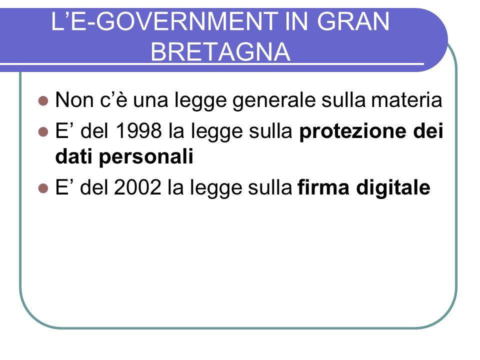 LE-GOVERNMENT IN GRAN BRETAGNA Non cè una legge generale sulla materia E del 1998 la legge sulla protezione dei dati personali E del 2002 la legge sulla firma digitale