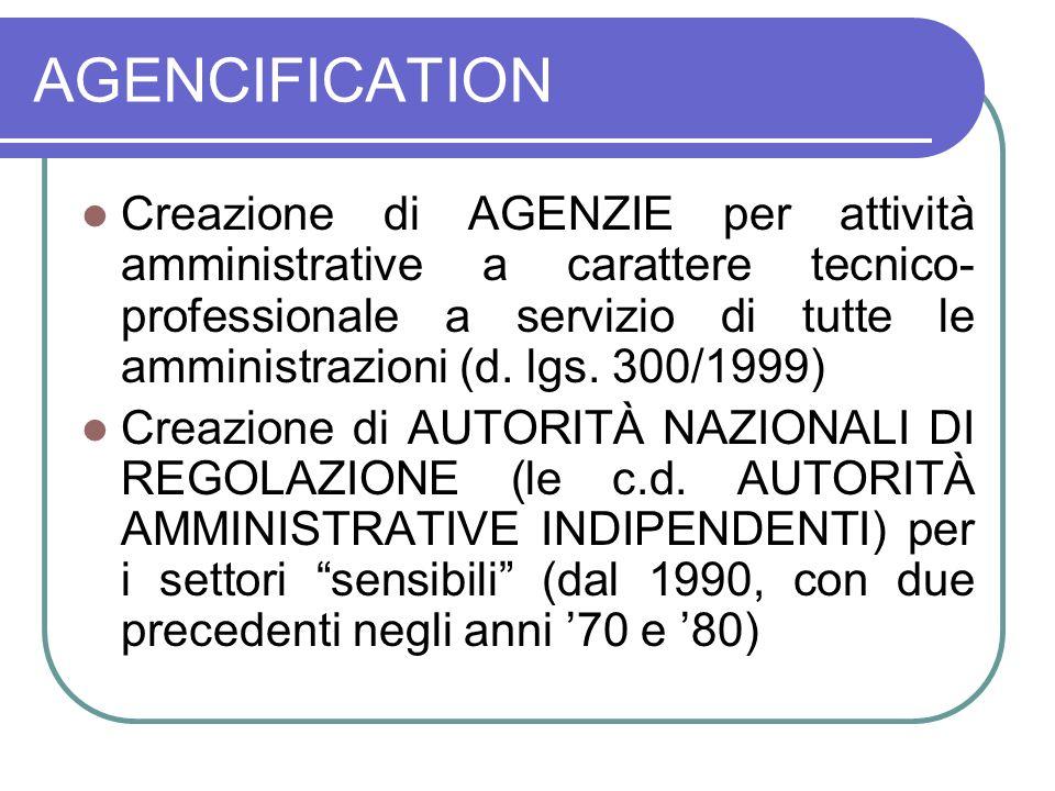AGENCIFICATION Creazione di AGENZIE per attività amministrative a carattere tecnico- professionale a servizio di tutte le amministrazioni (d.