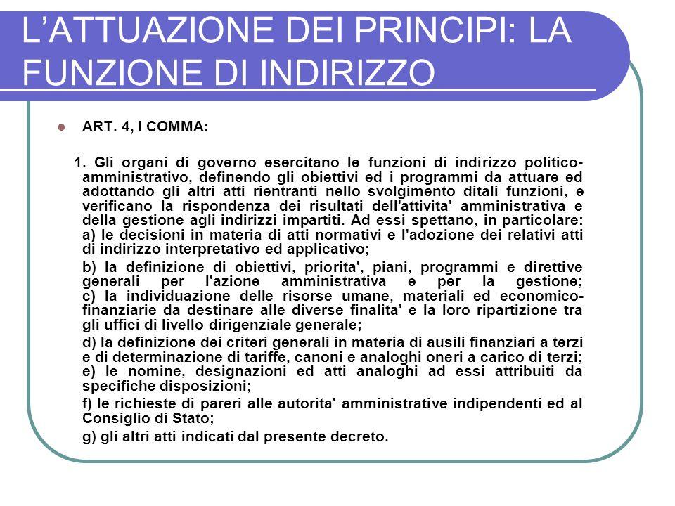 LATTUAZIONE DEI PRINCIPI: LA FUNZIONE DI INDIRIZZO ART.