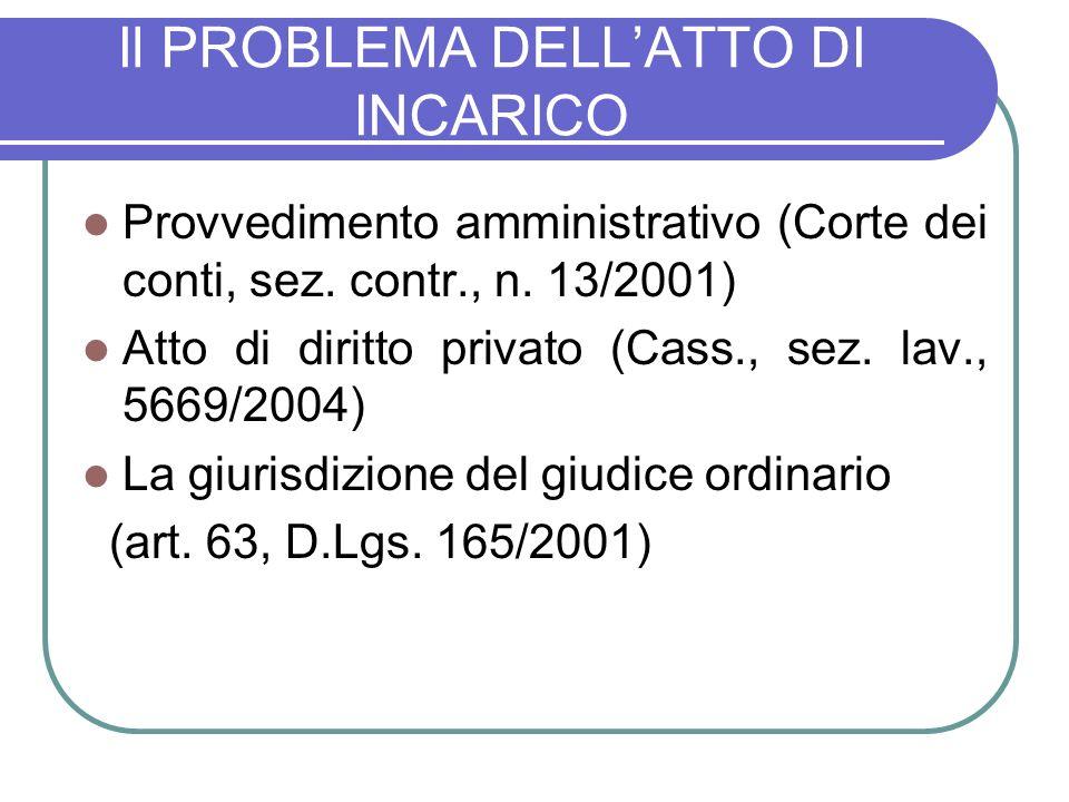 Il PROBLEMA DELLATTO DI INCARICO Provvedimento amministrativo (Corte dei conti, sez.