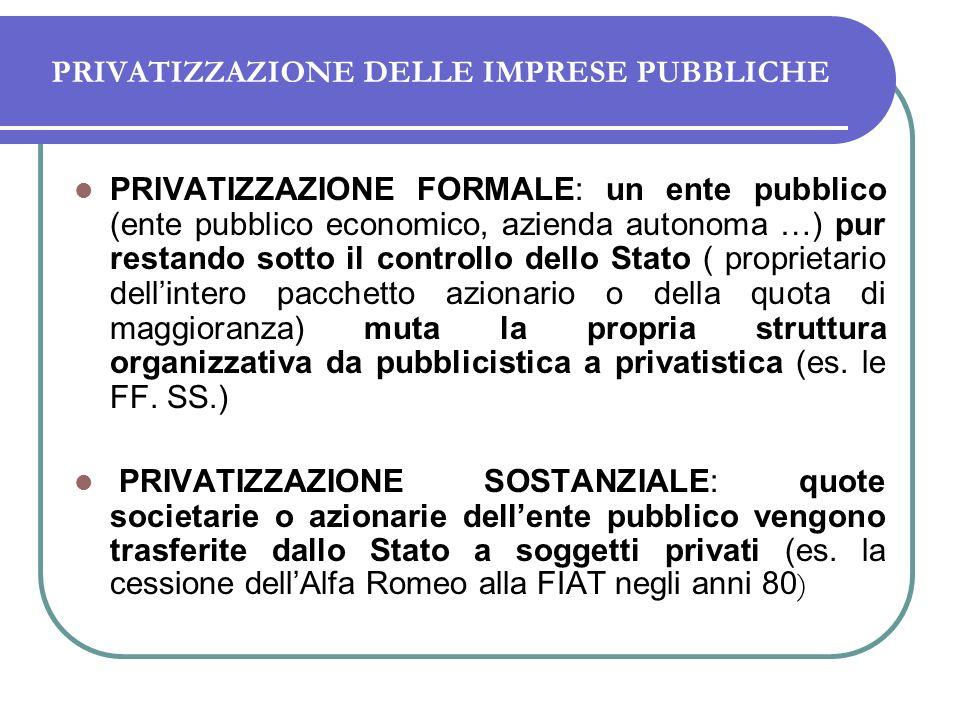 PRIVATIZZAZIONE DELLE IMPRESE PUBBLICHE PRIVATIZZAZIONE FORMALE: un ente pubblico (ente pubblico economico, azienda autonoma …) pur restando sotto il controllo dello Stato ( proprietario dellintero pacchetto azionario o della quota di maggioranza) muta la propria struttura organizzativa da pubblicistica a privatistica (es.