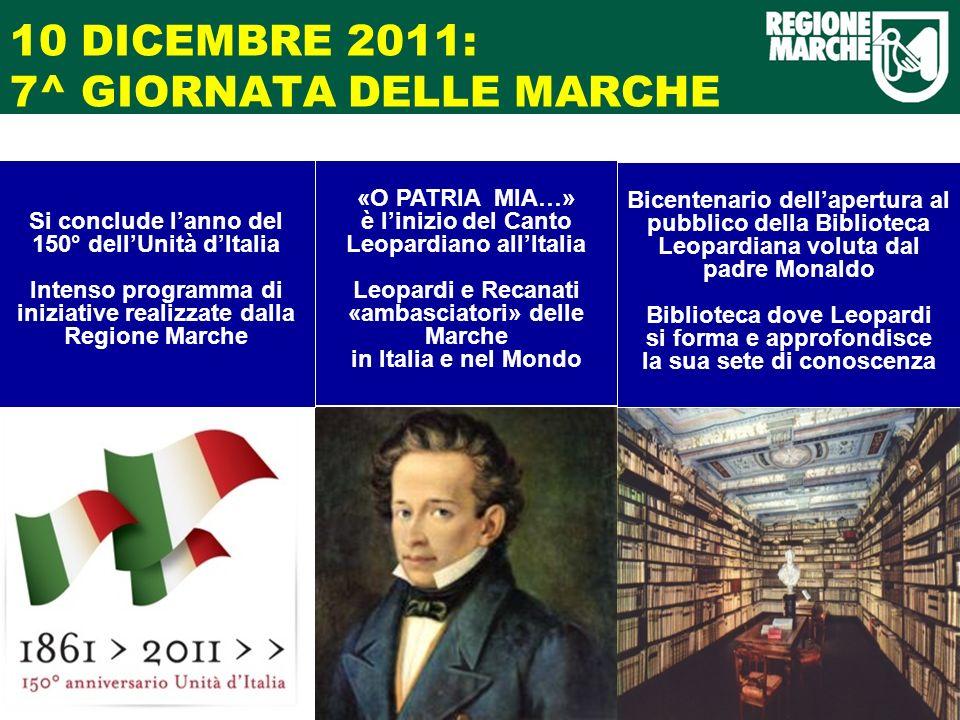 10 DICEMBRE 2011: 7^ GIORNATA DELLE MARCHE Si conclude lanno del 150° dellUnità dItalia Intenso programma di iniziative realizzate dalla Regione March
