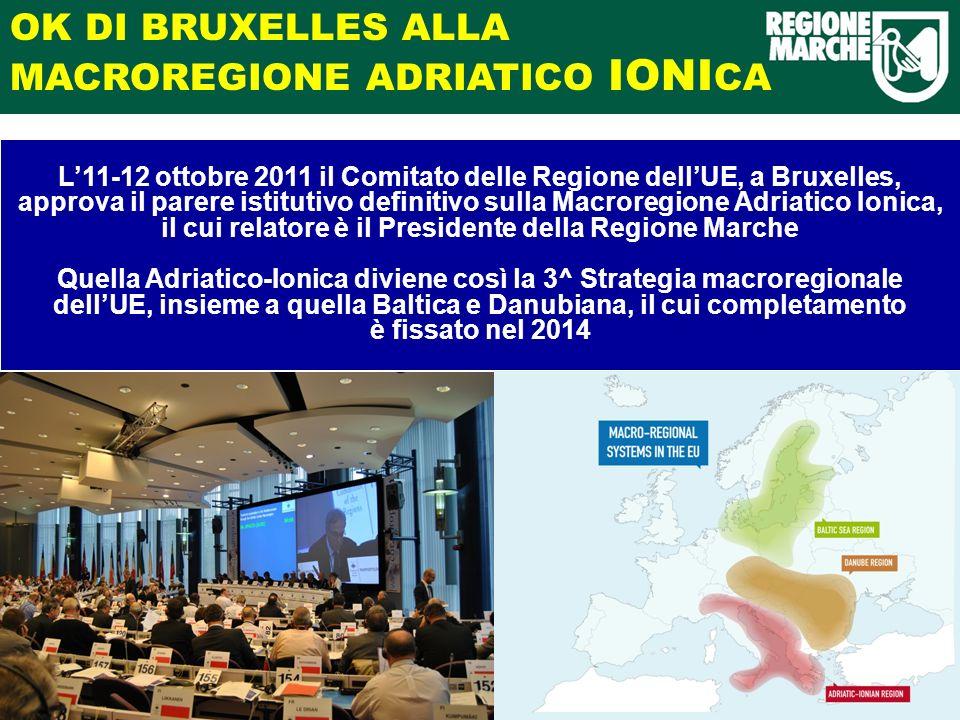 OK DI BRUXELLES ALLA MACROREGIONE ADRIATICO IONI CA L11-12 ottobre 2011 il Comitato delle Regione dellUE, a Bruxelles, approva il parere istitutivo definitivo sulla Macroregione Adriatico Ionica, il cui relatore è il Presidente della Regione Marche Quella Adriatico-Ionica diviene così la 3^ Strategia macroregionale dellUE, insieme a quella Baltica e Danubiana, il cui completamento è fissato nel 2014