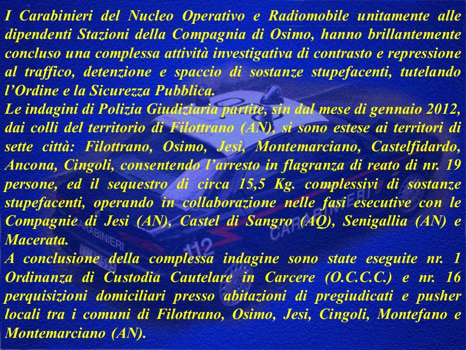 I Carabinieri del Nucleo Operativo e Radiomobile unitamente alle dipendenti Stazioni della Compagnia di Osimo, hanno brillantemente concluso una compl