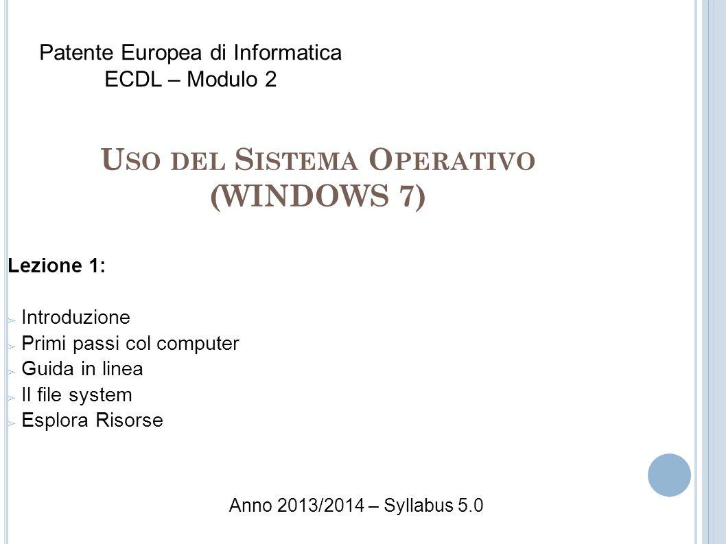 U SO DEL S ISTEMA O PERATIVO (WINDOWS 7) Lezione 1: Introduzione Primi passi col computer Guida in linea Il file system Esplora Risorse Patente Europe