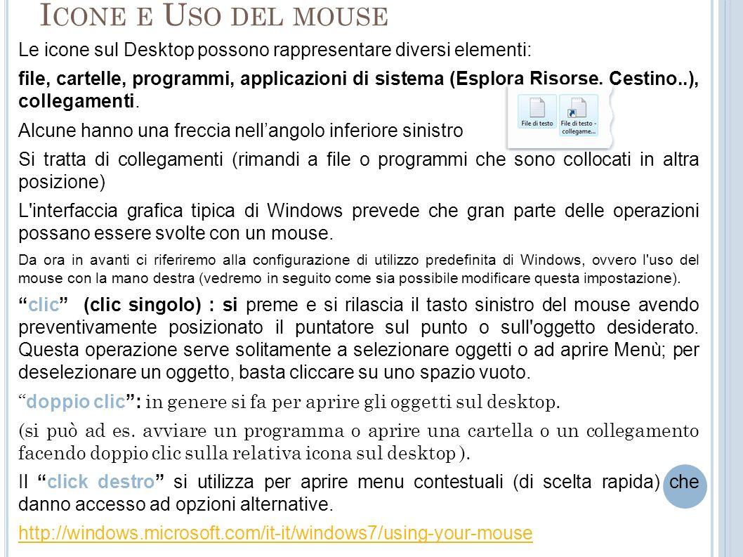 I CONE E U SO DEL MOUSE Le icone sul Desktop possono rappresentare diversi elementi: file, cartelle, programmi, applicazioni di sistema (Esplora Risor