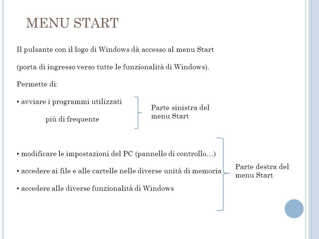 MENU START Il pulsante con il logo di Windows dà accesso al menu Start (porta di ingresso verso tutte le funzionalità di Windows). Permette di: avviar