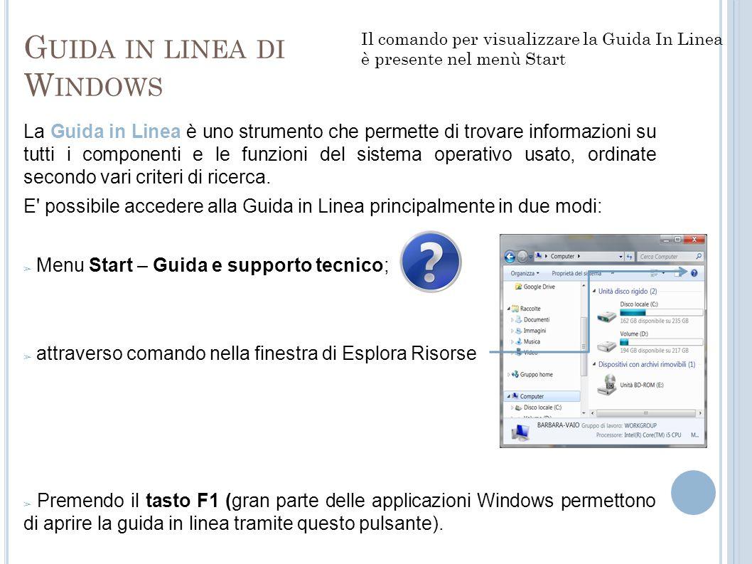 G UIDA IN LINEA DI W INDOWS La Guida in Linea è uno strumento che permette di trovare informazioni su tutti i componenti e le funzioni del sistema ope
