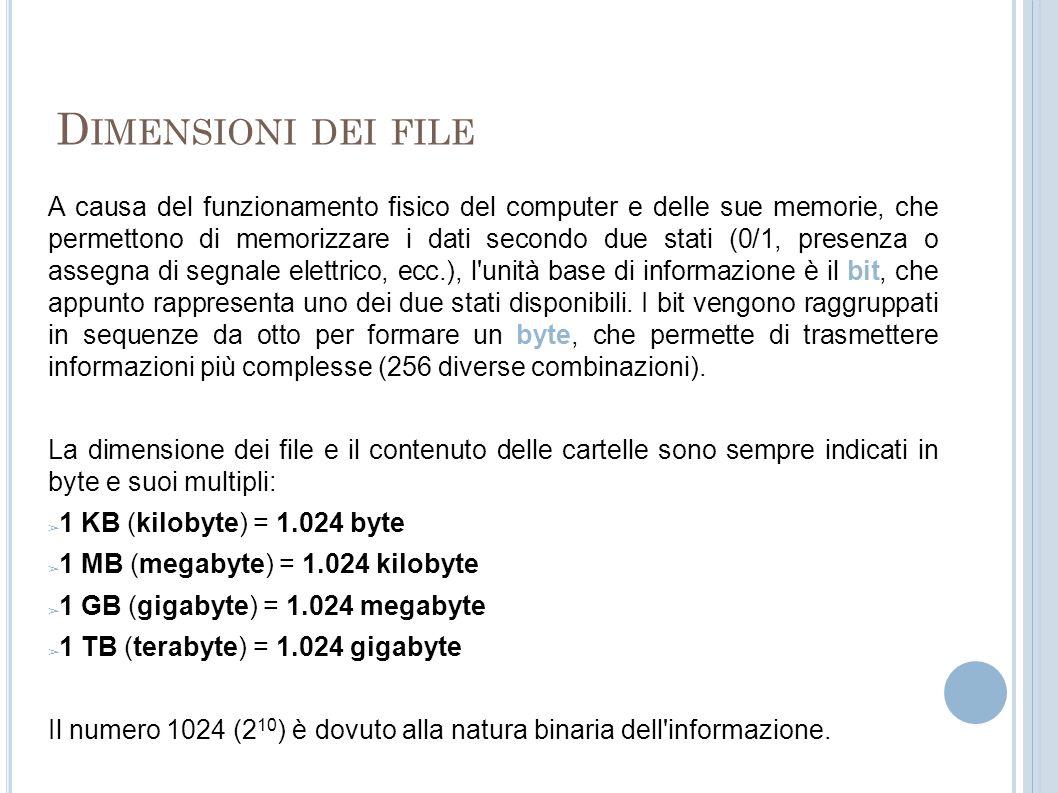 D IMENSIONI DEI FILE A causa del funzionamento fisico del computer e delle sue memorie, che permettono di memorizzare i dati secondo due stati (0/1, p