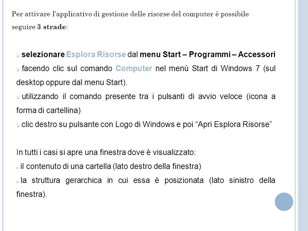 selezionare Esplora Risorse dal menu Start – Programmi – Accessori facendo clic sul comando Computer nel menù Start di Windows 7 (sul desktop oppure d