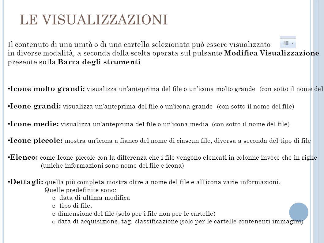 LE VISUALIZZAZIONI Il contenuto di una unità o di una cartella selezionata può essere visualizzato in diverse modalità, a seconda della scelta operata