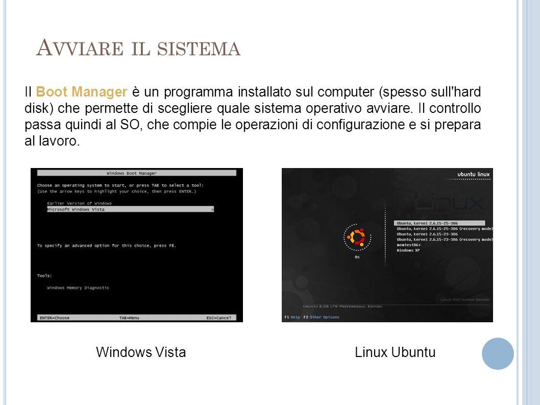 A VVIARE IL SISTEMA Il Boot Manager è un programma installato sul computer (spesso sull'hard disk) che permette di scegliere quale sistema operativo a