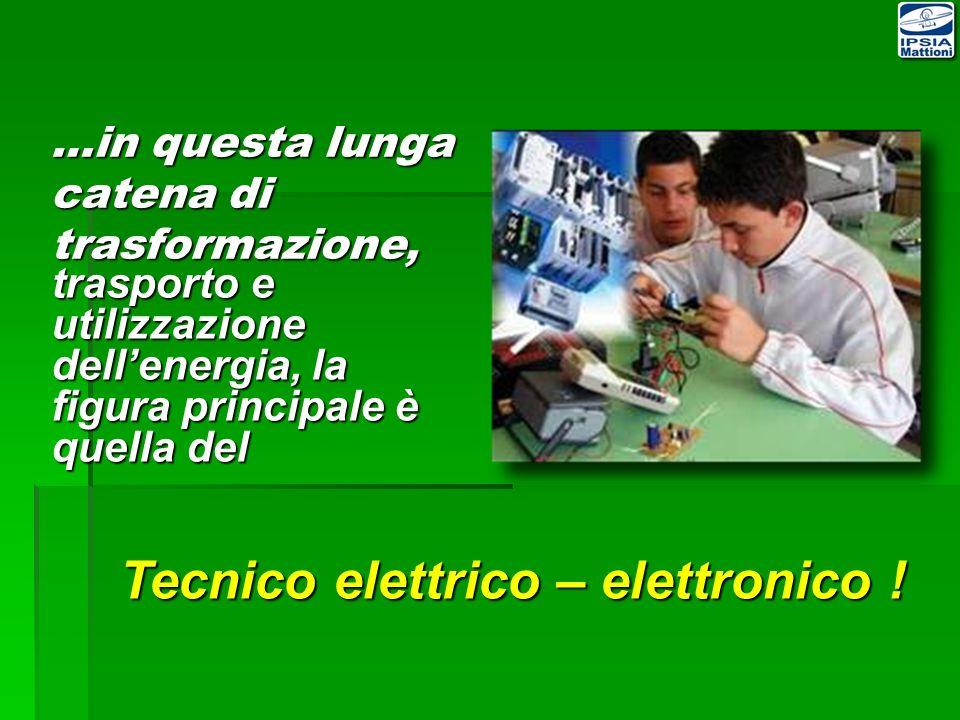 trasporto e utilizzazione dellenergia, la figura principale è quella del Tecnico elettrico – elettronico .