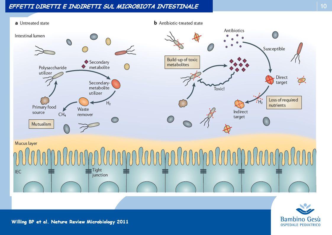 10 EFFETTI DIRETTI E INDIRETTI SUL MICROBIOTA INTESTINALE Willing BP et al. Nature Review Microbiology 2011