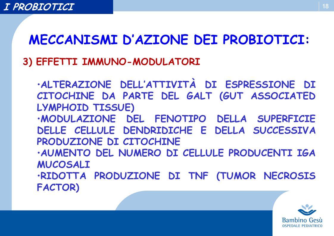 18 MECCANISMI DAZIONE DEI PROBIOTICI: 3) EFFETTI IMMUNO-MODULATORI ALTERAZIONE DELLATTIVITÀ DI ESPRESSIONE DI CITOCHINE DA PARTE DEL GALT (GUT ASSOCIATED LYMPHOID TISSUE) MODULAZIONE DEL FENOTIPO DELLA SUPERFICIE DELLE CELLULE DENDRIDICHE E DELLA SUCCESSIVA PRODUZIONE DI CITOCHINE AUMENTO DEL NUMERO DI CELLULE PRODUCENTI IGA MUCOSALI RIDOTTA PRODUZIONE DI TNF (TUMOR NECROSIS FACTOR) I PROBIOTICI