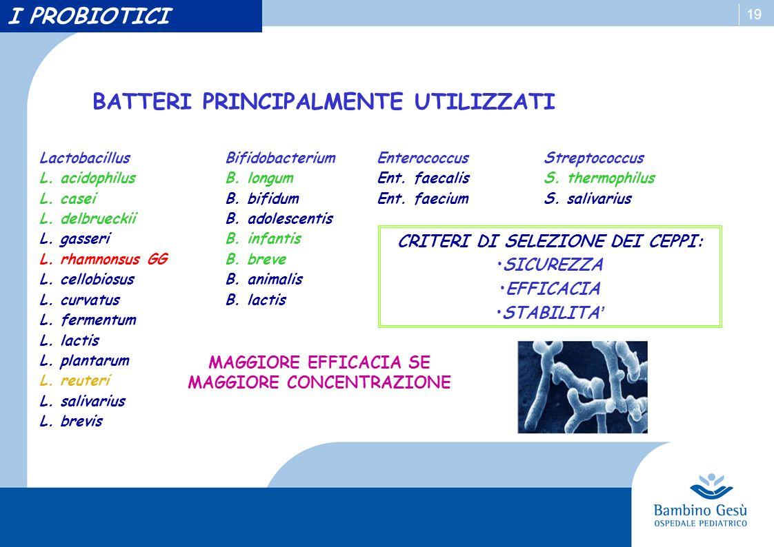 19 BATTERI PRINCIPALMENTE UTILIZZATI LactobacillusBifidobacteriumEnterococcusStreptococcus L. acidophilus L. casei L. delbrueckii L. gasseri L. rhamno
