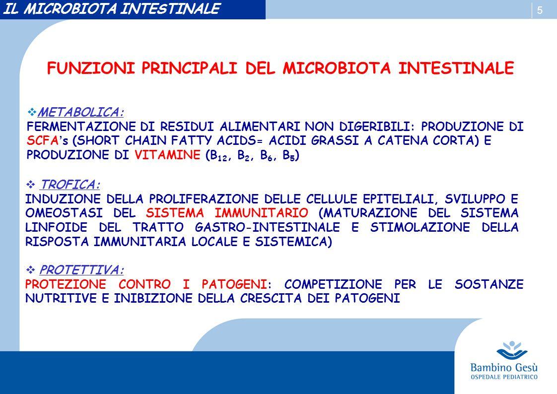 5 FUNZIONI PRINCIPALI DEL MICROBIOTA INTESTINALE TROFICA: INDUZIONE DELLA PROLIFERAZIONE DELLE CELLULE EPITELIALI, SVILUPPO E OMEOSTASI DEL SISTEMA IMMUNITARIO (MATURAZIONE DEL SISTEMA LINFOIDE DEL TRATTO GASTRO-INTESTINALE E STIMOLAZIONE DELLA RISPOSTA IMMUNITARIA LOCALE E SISTEMICA) PROTETTIVA: PROTEZIONE CONTRO I PATOGENI: COMPETIZIONE PER LE SOSTANZE NUTRITIVE E INIBIZIONE DELLA CRESCITA DEI PATOGENI METABOLICA: FERMENTAZIONE DI RESIDUI ALIMENTARI NON DIGERIBILI: PRODUZIONE DI SCFAs (SHORT CHAIN FATTY ACIDS= ACIDI GRASSI A CATENA CORTA) E PRODUZIONE DI VITAMINE (B 12, B 2, B 6, B 5 ) IL MICROBIOTA INTESTINALE