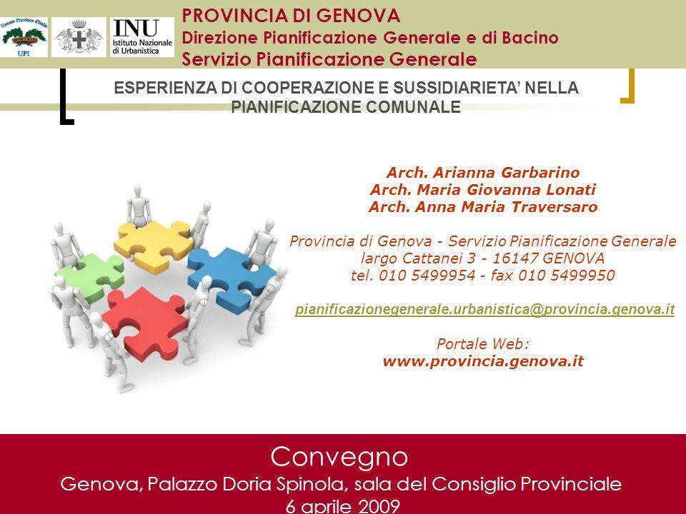 Convegno Genova, Palazzo Doria Spinola, sala del Consiglio Provinciale 6 aprile 2009 PROVINCIA DI GENOVA Direzione Pianificazione Generale e di Bacino Servizio Pianificazione Generale Arch.