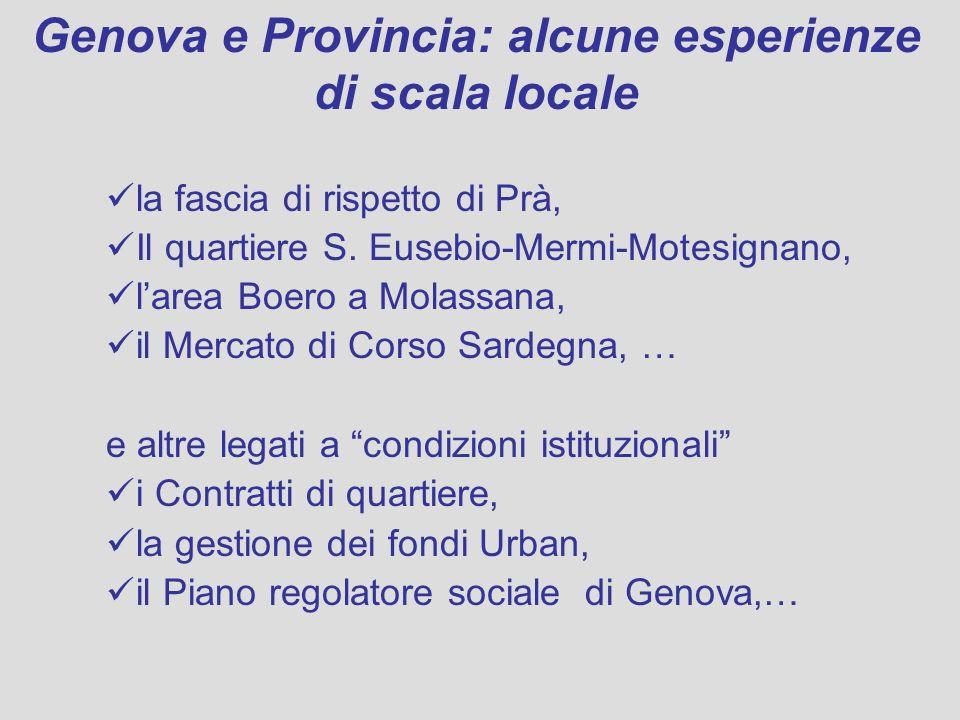 Genova e Provincia: alcune esperienze di scala locale la fascia di rispetto di Prà, Il quartiere S. Eusebio-Mermi-Motesignano, larea Boero a Molassana