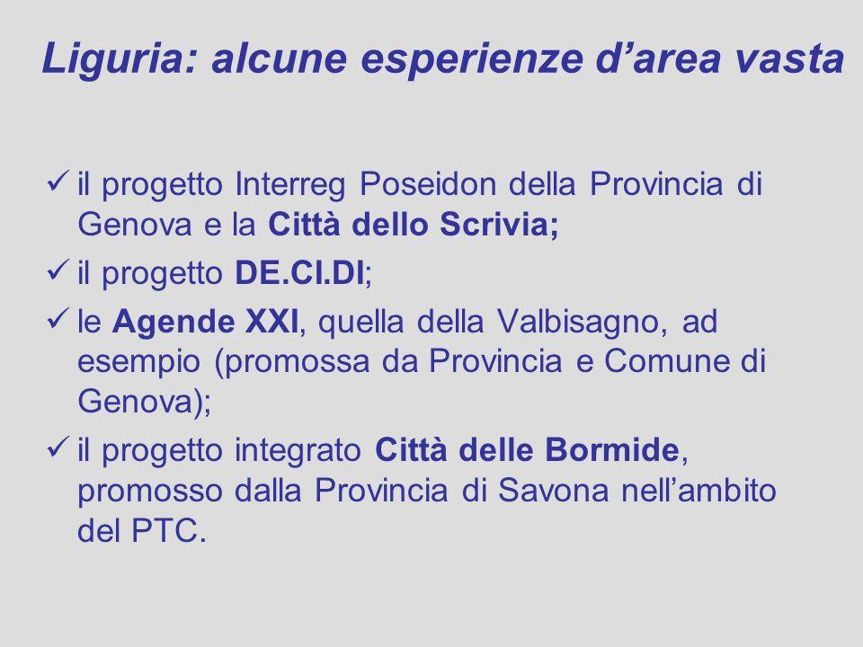 Liguria: alcune esperienze darea vasta il progetto Interreg Poseidon della Provincia di Genova e la Città dello Scrivia; il progetto DE.CI.DI; le Agende XXI, quella della Valbisagno, ad esempio (promossa da Provincia e Comune di Genova); il progetto integrato Città delle Bormide, promosso dalla Provincia di Savona nellambito del PTC.