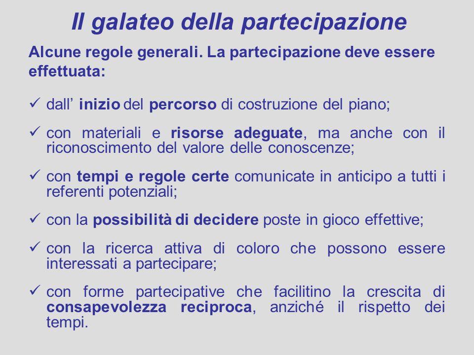 Il galateo della partecipazione Alcune regole generali. La partecipazione deve essere effettuata: dall inizio del percorso di costruzione del piano; c