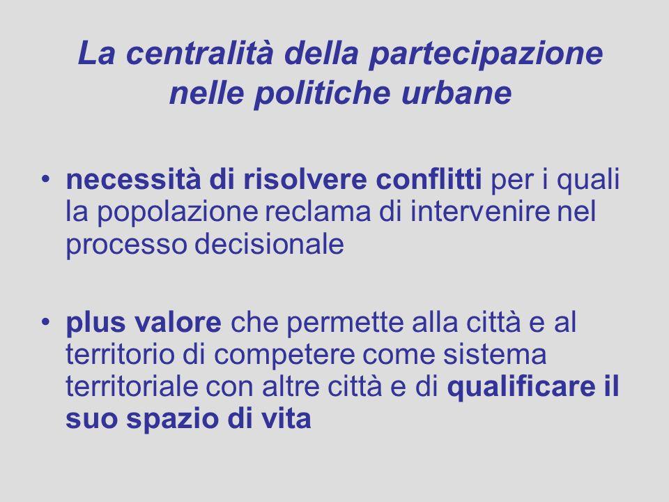 La centralità della partecipazione nelle politiche urbane necessità di risolvere conflitti per i quali la popolazione reclama di intervenire nel proce