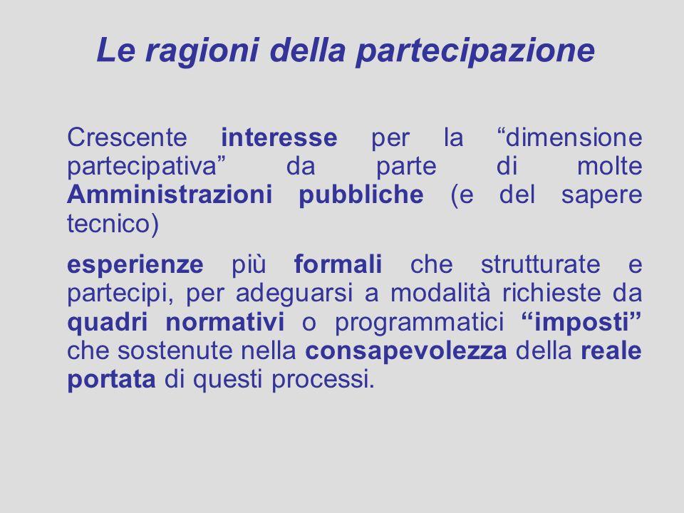 Le ragioni della partecipazione Crescente interesse per la dimensione partecipativa da parte di molte Amministrazioni pubbliche (e del sapere tecnico)