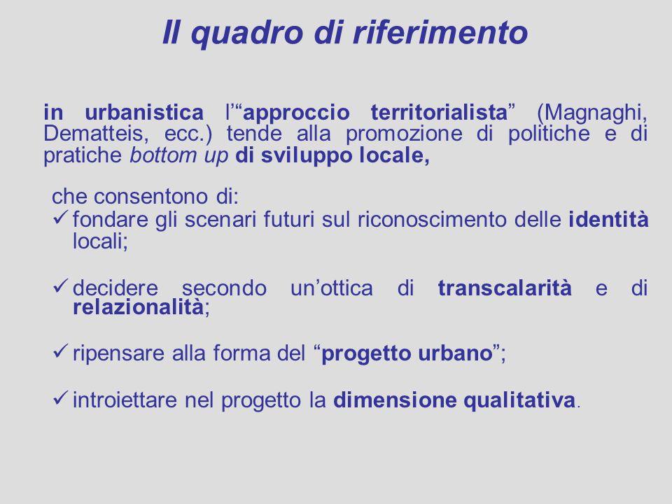 Il quadro di riferimento in urbanistica lapproccio territorialista (Magnaghi, Dematteis, ecc.) tende alla promozione di politiche e di pratiche bottom
