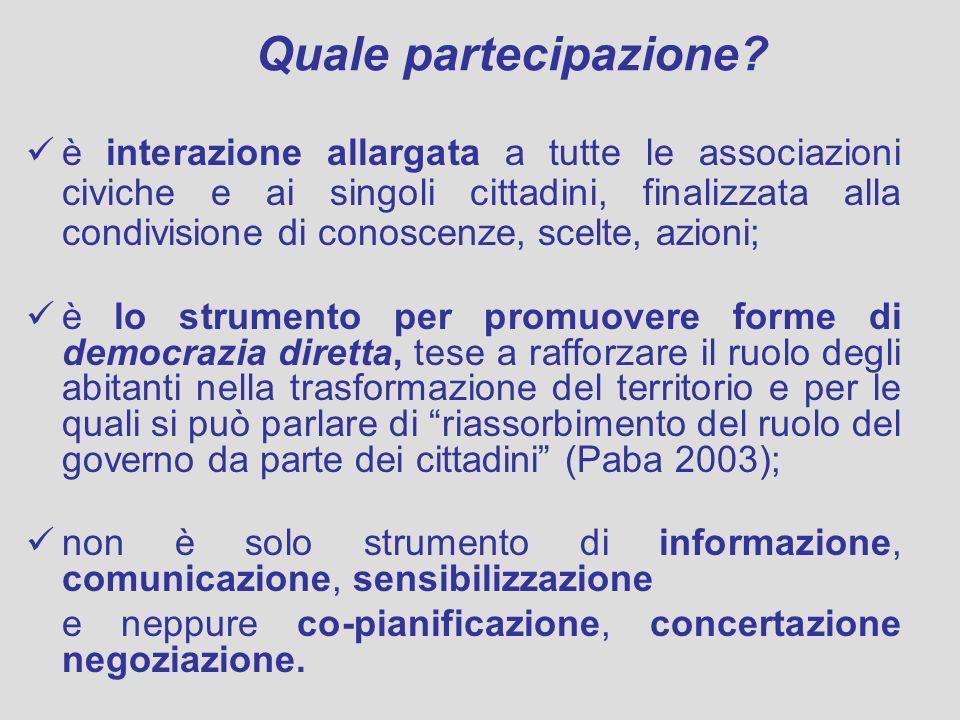 Quale partecipazione? è interazione allargata a tutte le associazioni civiche e ai singoli cittadini, finalizzata alla condivisione di conoscenze, sce